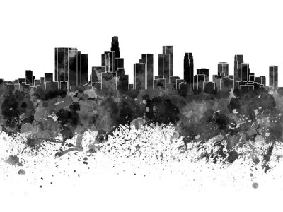 Fototapeta Los Angeles Skyline w czarnej akwarela na białym tle
