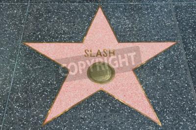Fototapeta LOS ANGELES, USA - 5 kwietnia 2014: Slash (gitarzysta Guns N 'Roses) gra na słynnym Walk of Fame w Hollywood. Hollywood Walk of Fame to ponad 2500 gwiazd z nazwiskami znanych gwiazd.