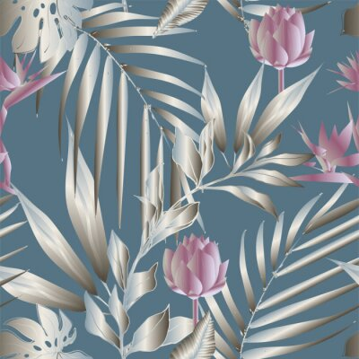 Fototapeta Lotus flowers surrounded by palm leaves seamless pattern. Vector illustration with tropical plants.