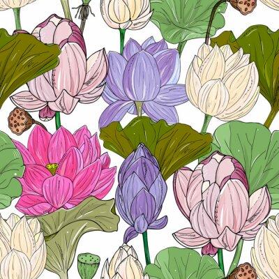 Fototapeta Lotus or water lilies seamless pattern. Elegant tropical floral background. For packaging, print, fabric, wallpaper, invitations.