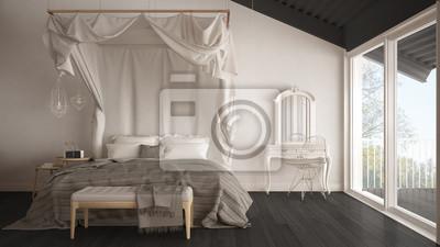 Fototapeta łóżko Z Baldachimem W Minimalistycznej Białej I Szarej Sypialni