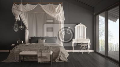 Fototapeta łóżko Z Baldachimem W Minimalistycznej Szarej Sypialni Z Dużym