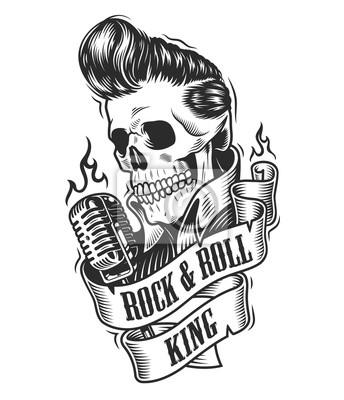 Fototapeta Ludzka Czaszka W Rock And Roll