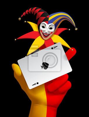 Ludzka Reka Z Glowy I Usmiechnal Joker Karta Do Gry Ace Fototapeta