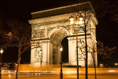 Fototapeta Łuk Triumfalny w nocy, Paryż, Francja.