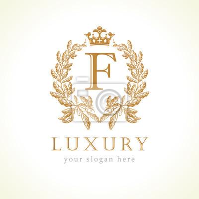 Luksusowe Logo Litera F I Korona Monogram Wróżka Elegancka Piękna