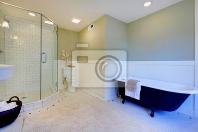 Fototapeta Luksusowe świeże zielone i białe nowoczesna łazienka