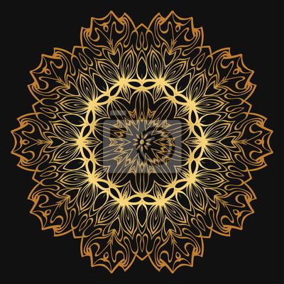 Fototapeta Luxury Golden Color Hand Drawn Henna Ethnic Mandala Circle Lace