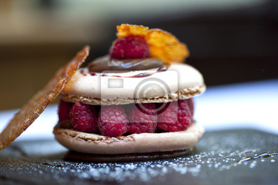Fototapeta Macaron, ciasto, pâtisserie, deser, framboise, smakosz