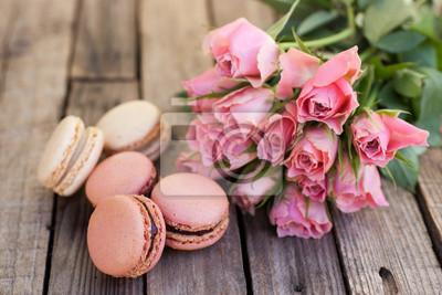 Fototapeta Macarons, róże