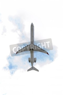 Fototapeta MADRID, SPAIN - JUNE 14th 2015: Aircraft -Bombardier Canadair CRJ-900-, of -Air Nostrum- airline, is taking off from Madrid-Barajas -Adolfo Suarez- airport, on June 14th 2015.