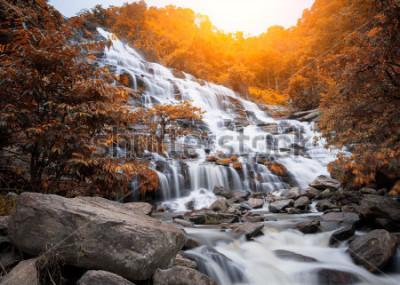 Fototapeta Mae Yah siklawa, piękna siklawa w jesień lesie, Chiang Mai prowincja, Tajlandia