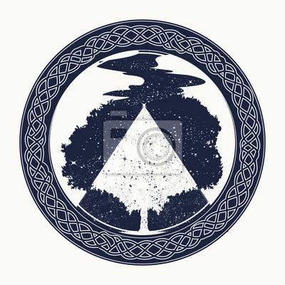 Fototapeta Magia Tatuaż Drzewa I Projekt T Shirt Drzewo życia Tatuaż Symbol
