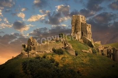 Fototapeta magical medieval corfe castle ruins