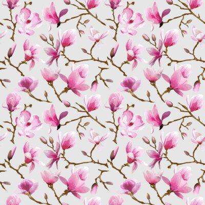 Fototapeta Magnolia kwiaty tła - Vintage Seamless Pattern