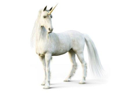 Fototapeta Majestatyczna jednorożec pozuje na białym odosobnionym tle. 3d rendering