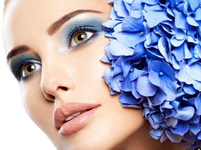 Fototapeta Makeup Face Flower Blue Woman Fashion