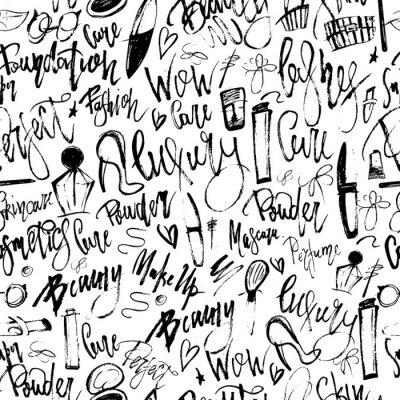 Fototapeta Makijaż grunge bez szwu deseń z elementów piękno i odręczne litery dla promocji.