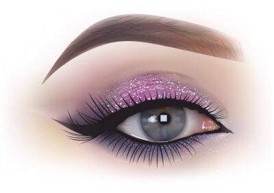 Fototapeta Makijaż oczu mody kobieta - szczegółowe ilustracji realistyczne, wektor