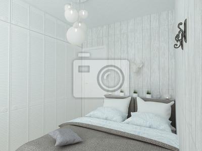 Fototapeta Mała Przytulna Sypialnia W Kolorze Białym Niebieskim I Szarym