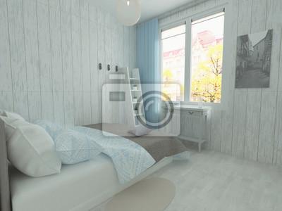 Fototapeta Mała Sypialnia W Stylu Rustykalnym Z Drewnianymi ścianami Niebieską
