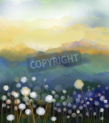 Fototapeta malarstwo olejne Streszczenie kwiaty białe pola w miękkiej kolorze. Obrazy olejne biały kwiat dandelion na łąkach. Wiosna sezonowość z niebiesko - zielonego wzgórza w tle.