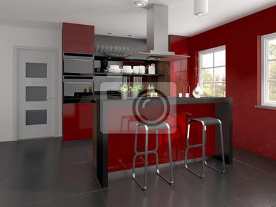 Male Projektowanie Kuchni Czerwone I Czarne Fototapeta Fototapety