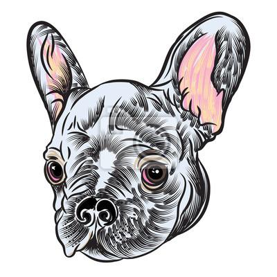 Fototapeta Małe Słodkie Buldog Francuski Puppy Tatuaż Stylu Koncepcji Na