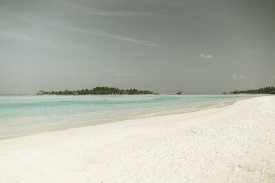 Fototapeta Malediwy wyspie plaża z palmy i willi