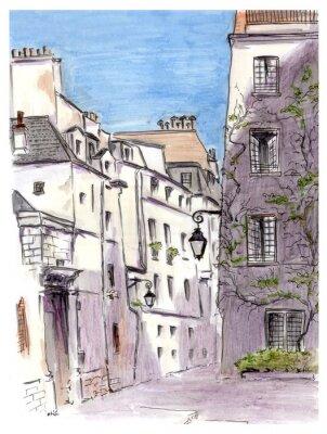 Fototapeta Malowanie ulicy miasta europejskiego Paryżu