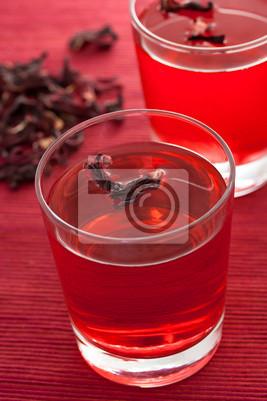 Fototapeta malwa herbata ziołowa w szklanej filiżance