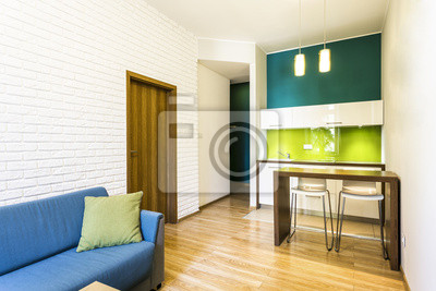 Mały Salon Z Aneksem Kuchennym Zielony Fototapeta Fototapety