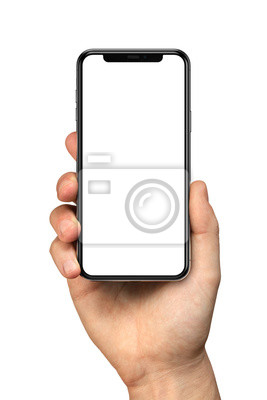Fototapeta Man hand holding the black smartphone with blank screen and modern frameless design - isolated on white background