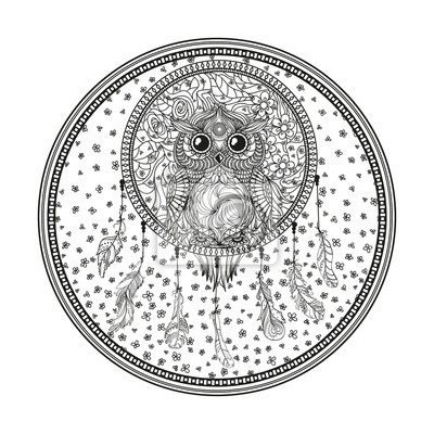Fototapeta Mandala łapacz Snów Sowa Tatuaż Mistyczny Symbol Abstrakcyjne