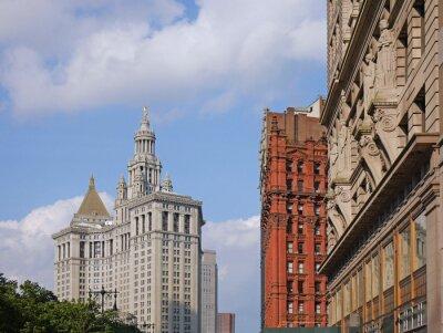 Fototapeta Manhattan City Hall i ozdobne stare budynki biurowe