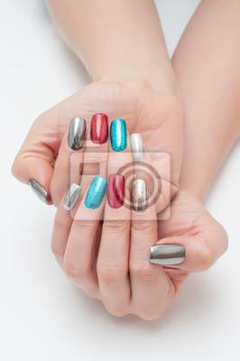 Manicure Sylwester Na Długich Kwadratowych Paznokciach Czerwony