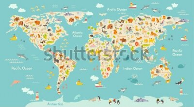 Fototapeta Map animal for kid. Continent of world, animated child's map. Vector illustration animals poster, drawn Earth. Continents and sea life. South America, Eurasia, North America, Africa and Australia