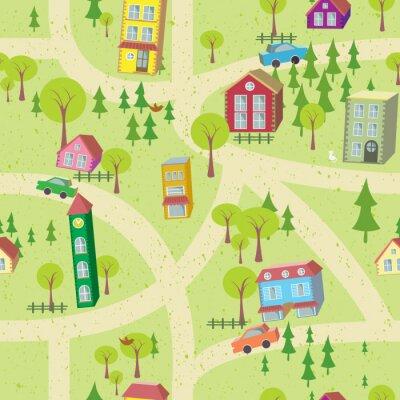 Fototapeta Map Cartoon bez szwu wzór z domów i dróg