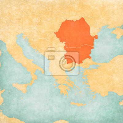 Fototapeta Map of Balkans - Romania and Bulgaria