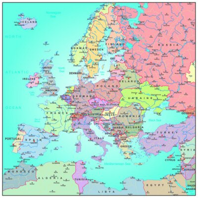 Mapa Administracyjna Europy Fototapeta Fototapety Monaco
