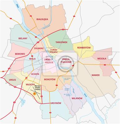 Mapa Administracyjna I Droga Kapitalowym Polska Warszawa