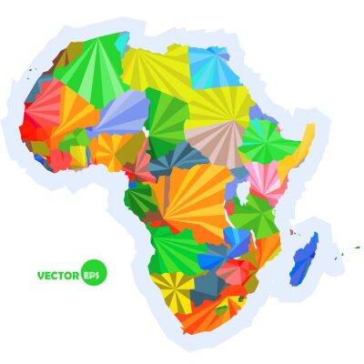 Fototapeta mapa Afryki. Koncepcja map z krajami Afryki Kolorowa mapa, abstrakcyjny wzór tła infografika, mapa Afryki w wielokątne origami ilustracji wektorowych projektowania logo