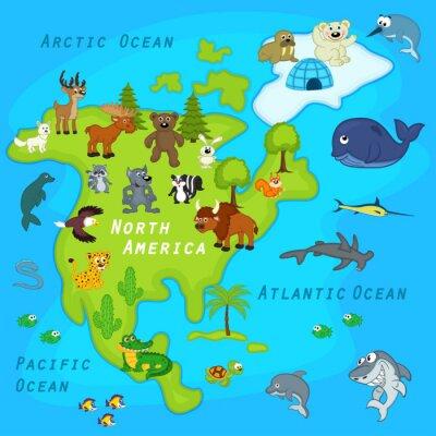 Fototapeta mapa Ameryki Północnej ze zwierzętami - ilustracji wektorowych, EPS