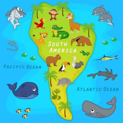 Fototapeta mapa Ameryki Południowej ze zwierzętami - ilustracji wektorowych, EPS