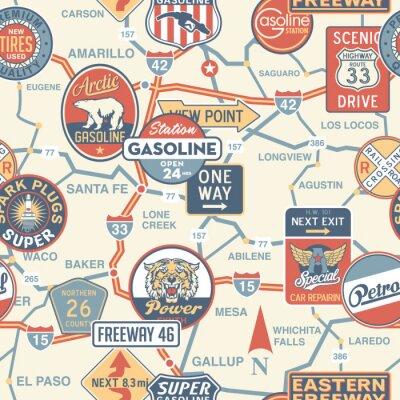 Fototapeta Mapa drogowa w stylu vintage wektor wywieszek - bez szwu