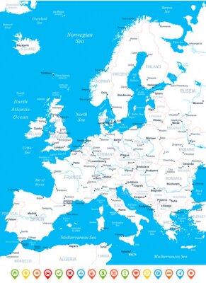 Fototapeta Mapa Europy - bardzo szczegółowe ilustracji wektorowych.