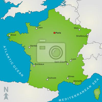 Lyon Karte.Fototapeta Mapa Francja