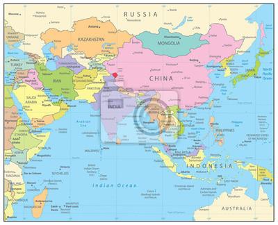 Mapa Polityczna Azji Poludniowej Fototapeta Fototapety