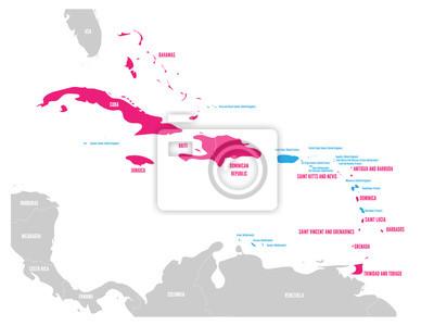 Mapa Polityczna Karaibow Rozowy Podkreslil Suwerenne Panstwa