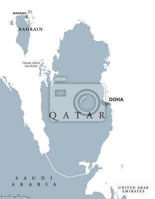 Mapa Polityczna Kataru Z Kapitalem Doha Panstwo I Suwerenny
